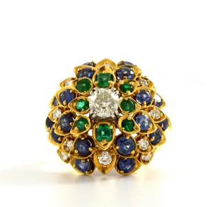 David Webb Cluster Ring With Diamonds, Sapphire And Emeralds Ring Size 7