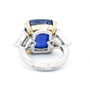 33.85 Carat Sapphire Cabochon And Trillion Cut Diamond Platinum And Gold Ring Size 5