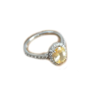 Brilliant Earth 18K White Gold Fancy Halo Yellow Sapphire Diamond Ring