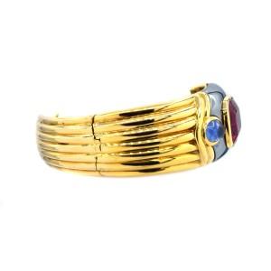 Bulgari Rubelite And Blue Sapphire Bangle Bracelet