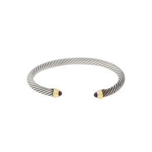 David Yurman Cable 14k Yellow Gold and Sterling Silver Amethyst Bracelet