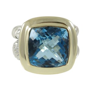 David Yurman 18K Yellow Gold Sterling Silver and Blue Topaz Albion Split Shank Ring Size 8