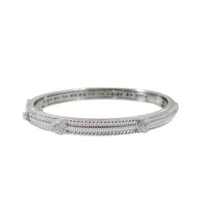 Judith Ripka 18K White Gold Pave Diamond Hearts Bangle Bracelet