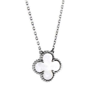 Van Cleef & Arpels 18K White Gold & Mother of Pearl Alhambra Pendant Necklace