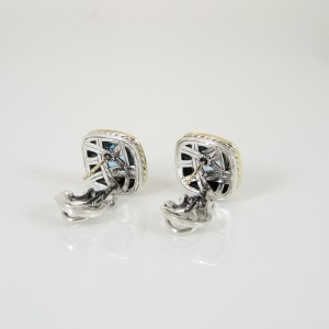 David Yurman Sterling Silver 18K Yellow Gold Blue Topaz Earrings