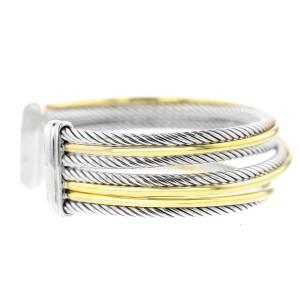 David Yurman SS/18K Cross Over Cuff Bracelet