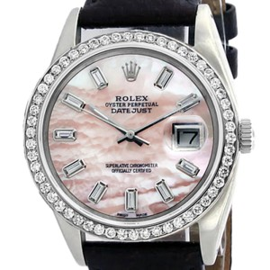 Rolex Datejust 16014 Stainless Steel & Pink Mother Of Pearl Diamond Dial 36mm Mens Watch
