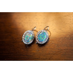 Andrea Fohrman 18K White Gold Australian Opal and Diamond Earrings