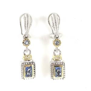 Judith Ripka Sterling Silver & 18K Yellow Gold Blue Topaz & Diamond Drop Earrings