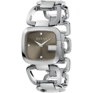 Gucci YA125401 G-Series Stainless Steel Brown Diamond Dial 34mm Watch
