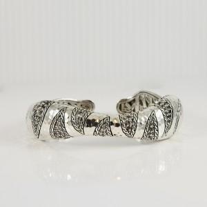 John Hardy Sterling Silver Macan White Sapphire Kick Cuff  Bracelet
