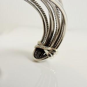 David Yurman Sterling Silver Wide Crossover Cuff Bangle Bracelet