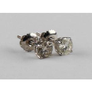 14K White Gold with 0.97ct Round Brilliant Diamond Screw-Back Stud Earrings