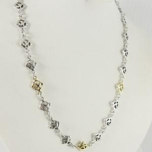 "David Yurman Sterling Silver 18K Yellow Gold 17.5"" DY Logo Station Necklace"