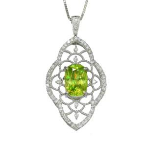 Platinum Sphene Diamond Necklace