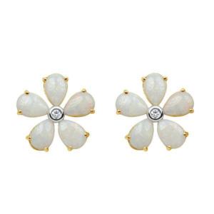 18K Yellow Gold 4.14ct Opal & Diamond Floral Stud Earrings