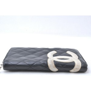 CHANEL Cambon Line Quilted CC Logo Long Wallet Black