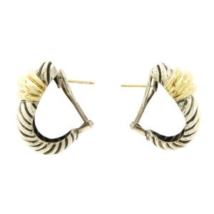 David Yurman 14K Yellow Gold and Sterling Silver Cable Earrings