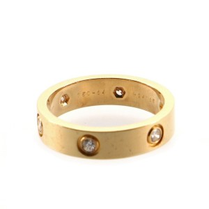 Cartier Love Band 6 Diamond Ring 18K Yellow Gold with Diamonds 10.75 - 64