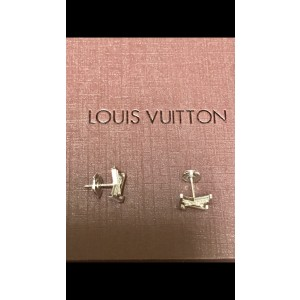 Louis Vuitton 18K White Gold Diamond Monogram Earrings