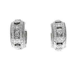 Penny Preville 18K White Gold Huggie .58ctw Diamond Earrings.