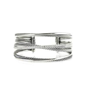 David Yurman Sterling Silver 14K .65tcw 4-Row Pave Diamond Crossover Cuff Bangle Bracelet