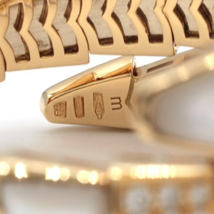 Bulgari Serpenti One-Coil 18K Yellow Gold with 7.00ctw Diamonds and Mother of Pearl Bracelet