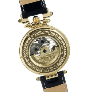 Stuhrling Emperor Open Heart 127.33352 Gold-Tone Stainless Steel & Leather 41mm Watch