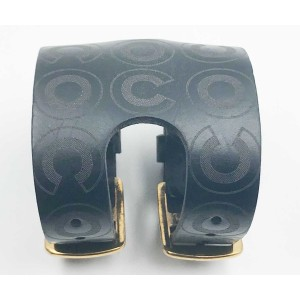 Chanel CoCo Gold Tone Hardware & Black Leather Cuff Bracelet