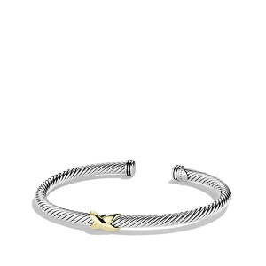 David Yurman Cable Classics X Station Bracelet with Gold, 4mm