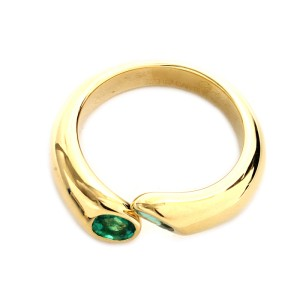 Cartier 18K Yellow Gold Emerald Ring Size 6.75