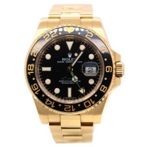 Rolex GMT Master II 116718 Black Dial 18k Yellow Gold Watch 40mm