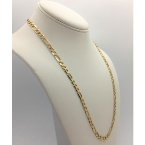 14k Solid Yellow Gold 24.95g Figaro Link 6mm Chain Necklace 22.5 Inches