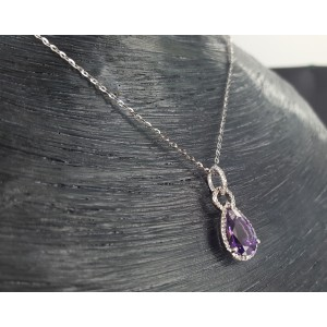 14K White Gold 2.87ct Amethyst and .12ct Diamond Necklace
