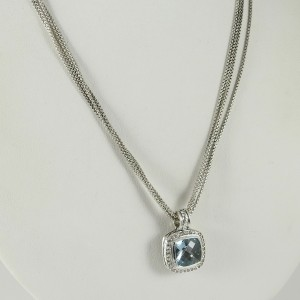 David Yurman Sterling Silver with Blue Topaz and Diamond Necklace