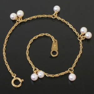 TASAKI 18K Yellow Gold Pearl Design Chain Bracelet