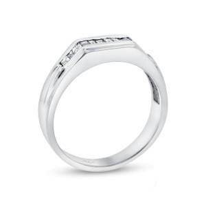 14K White Gold 0.35ct. Diamond Baguette Band Ring Size 10.5