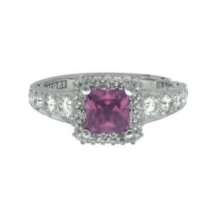 Tacori 18K White Gold Garnet .84ctw Diamond Ring Size 6.5