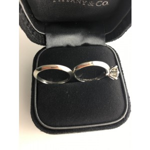 Tiffany & Co. Platinum & 1.05ct Diamond Solitaire Engagement Ring Set Size 4