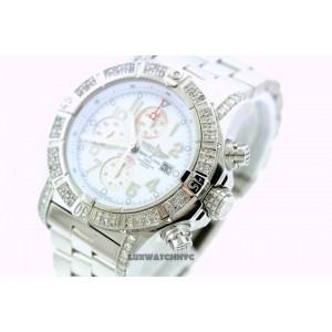 Breitling Super Avenger A13370 Stainless Steel & Diamonds 48mm Mens Watch