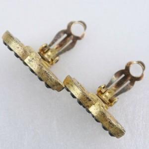 CHANEL Rhinestone/Gold Plated COCO Mark Earring