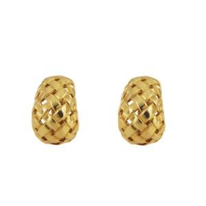 Tiffany & Co. Vannerie 18K Yellow Gold Open Basket Weave Earrings