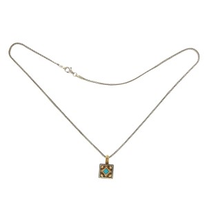 Konstantino 925 Sterling Silver and 18K Yellow Gold Turquoise Pendant Necklace