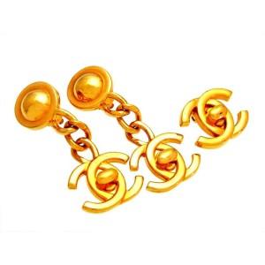 Chanel CC Logo Gold Tone Metal Turnlock Dangle Earrings