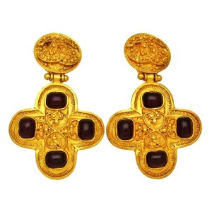 Chanel CC Logo Gold Tone Metal Red Stone Cross Dangle Earrings