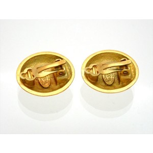 Vintage Chanel Earrings Gold CC Round