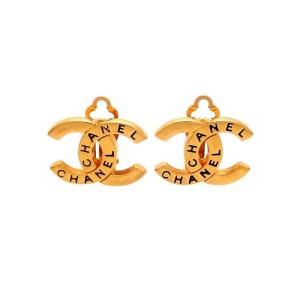 Vintage Chanel Earrings Gold CC Logo Black