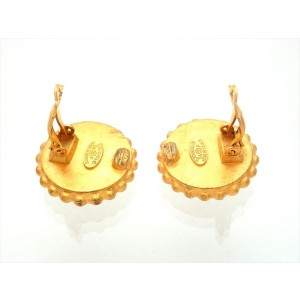 Vintage Chanel Earrings Black And Gold Round CC Logo