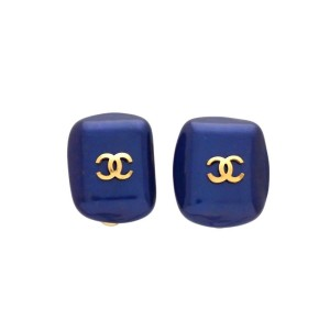 Vintage Chanel Earrings Blue Faux Pearl Stone CC Logo