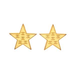 Vintage Chanel Earrings Gold Star CC Logo